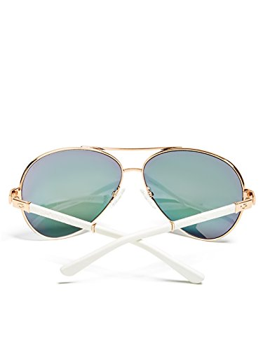 GUESS Women's Faux-Leather Aviator Sunglasses