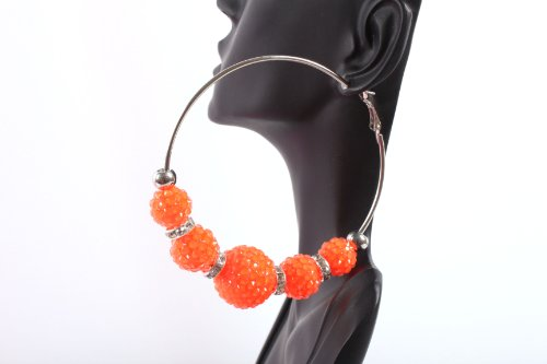 Neon Orange Shamballah 3 Inch Hoop Earrings with 5 Disco Balls and 4 Iced Out Rondelle Loops Basketball Mob Wives Lady Gaga Poparazzi