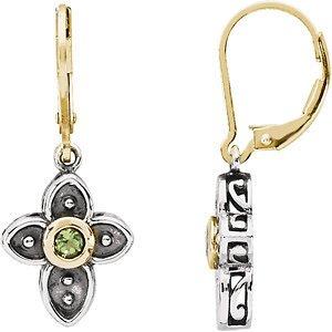 Genuine Peridot Cross Earrings