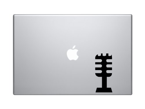 "Music Icon - Microphone #2 Audio Recording Podcast Art - 5"" Black Vinyl Decal Sticker Car Macbook Laptop"