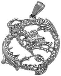 Genuine Sterling Silver Celtic Dragon Pendant with 20″ chain