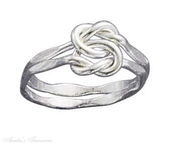 Sterling Silver Double Faceted Love Knot Ring Size 10