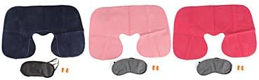 ZXCTravel Kit with Pillow Eyeshade and Earplugs Colors Assorted