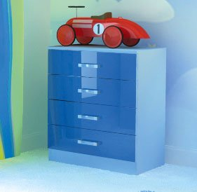 Chest of 4 Drawers in Two Tone Blue High Gloss       reviews and more information