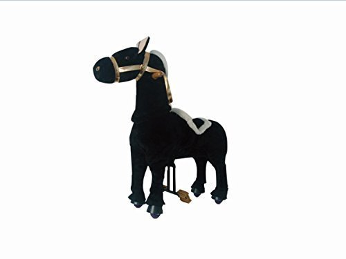 "UFREE Horse, Walking Black Horse, Really Moving, Ride on toy for Children 3 to 5 Years Old (Small, Height 35"", Plush Fur) - 1"