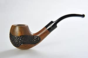 "Fidel Handcrafted ""Bent Billiard"" Smoking / Tobacco Pipe with Saddle Stem – Waxed Guayacan Wood Finish with Pattern Engraving (OW-02 US)"