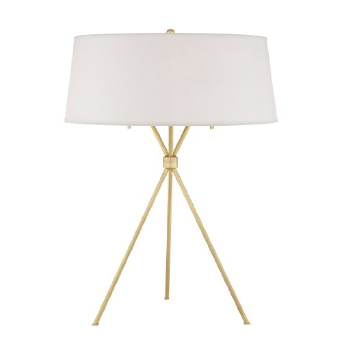 Quoizel LSP6325NR2 2-Light Solid Brass Epoch Table Lamp with White Parchment Shade, Natural Brass