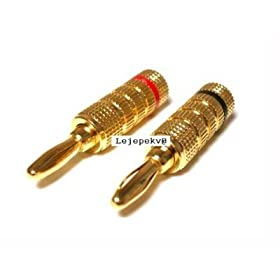High-Quality Copper Speaker Banana Plugs - Compression-Fit, Closed Screw Type, 24K Gold plated finish