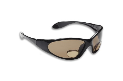 Fisherman Eyewear Polar View Polarized +3.00 Power Sunglass with Magnifier (Black Frame, Brown Lens)