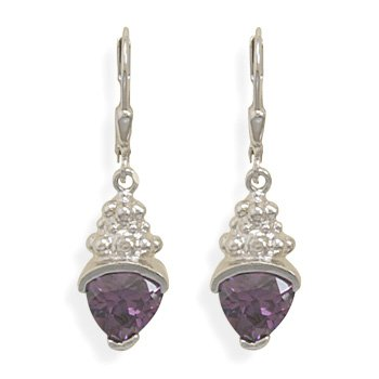 Rhodium Plated Purple CZ and Bead Design Lever Back Earrings