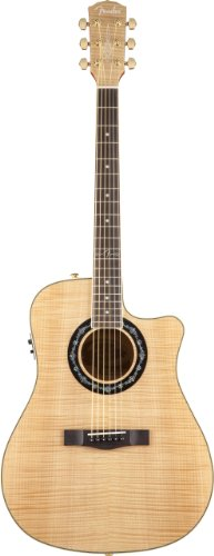 Fender T-Bucket 400Ce Cutaway Acoustic-Electric Guitar, Flame Maple Top, Fishman Preamp - Natural