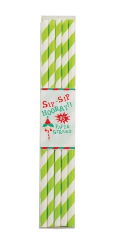 Party Partners Design Retro Paper Straws, Green, 25 Count