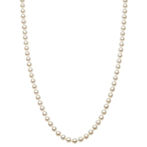 Aaa Quality 5.5-6Mm Cultured White Freshwater Pearl Endless Style Necklace, 48 Inch