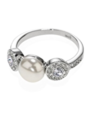 M&S Collection Platinum Plated Millgrain Pearl Effect Diamanté Ring