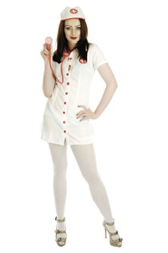 Nurse Button Fronted 4pc Fancy Dress Costume Size US 8-10
