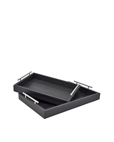 Three Hands Set of 2 Textured Trays, Black