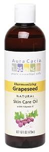 Aura Cacia Natural Skin Care Oil Harmonizing Grapeseed with Vitamin E 16 Fluid Ounce