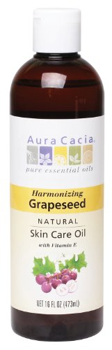 Aura Cacia Natural Skin Care Oil, Harmonizing Grapeseed with Vitamin E, 16 Fluid Ounce (Grape Seed Oil For Essential Oils compare prices)