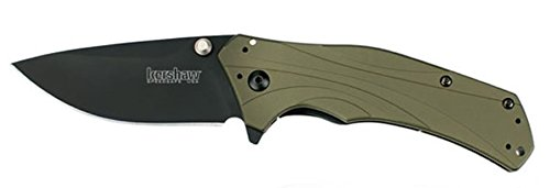 New Kershaw Knockout Olive Handle Black Blade SpeedSafe Assisted Opening Folding Knife + Includes a Free Zombie Hunter Survival Knife