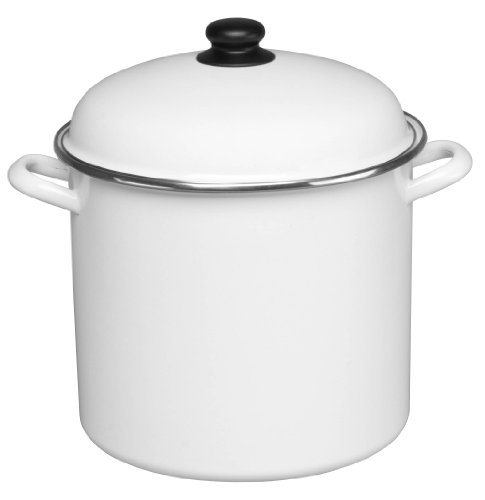 Cinsa 312010 Trend Ware Enamel on Steel Stock Pot with Lid, 12-Quart, White