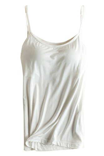 PinkWind Women's Modal Built-in Bra Pad Spaghetti Straps Cami Tank Top M White (Padded Bra Tank Top compare prices)
