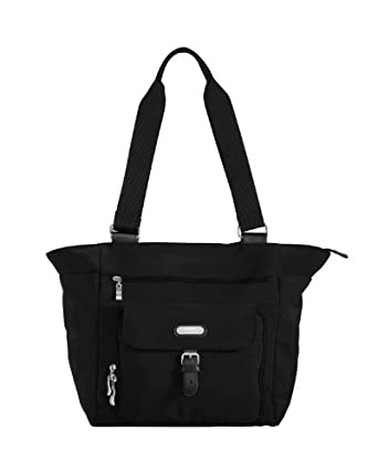 Baggallini Town Tote- Solid Nylon Crinkle,Black,One Size