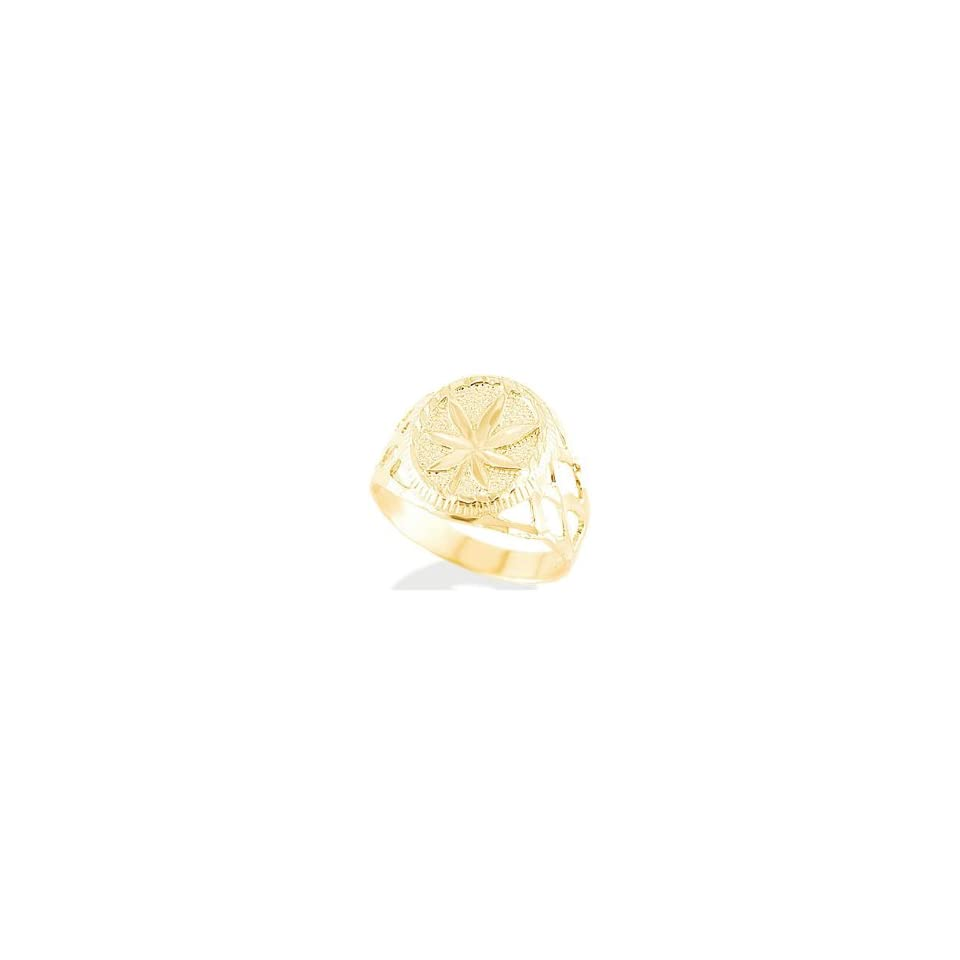 New 14k Solid Yellow Gold Marijuana Leaf Mens Ring