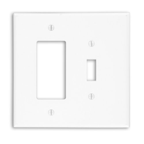 Leviton 88605 2-Gang 1-Toggle Decora/GFCI Device Combination Wallplate, Oversized, Thermoset, Device Mount, White
