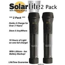 Hybrid Solar Powered Flashlight with Emergency Battery Backup - Black (2 pack)