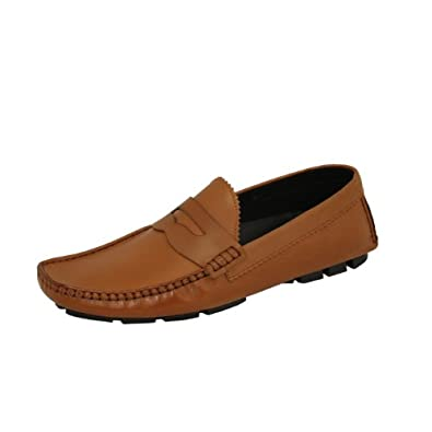 Natazzi Hand Made Mens Shoes Designer Driving Moccasin Men's Leather Loafer Slip-On Model Versus L-210 Brown (8.5 D(M) US / 41.5 (M) EU)