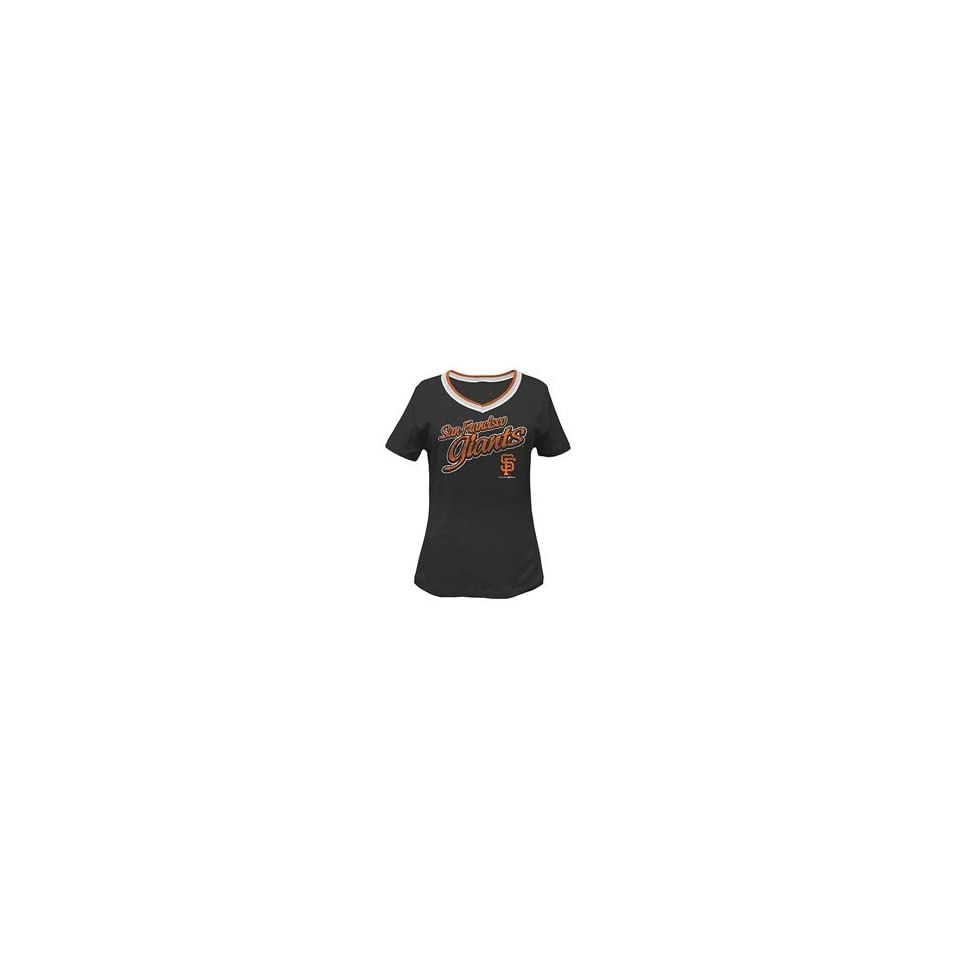 San Francisco Giants Womens Missy V Neck T Shirt by 5th & Ocean   Black Extra Large