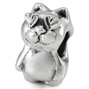 Authentic OHM Kitty Cat in Love 925 Sterling Silver Bead fits European Charm Bracelet