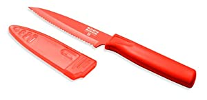 Kuhn Rikon 4-Inch Nonstick Colori Serrated Paring Knife, Red