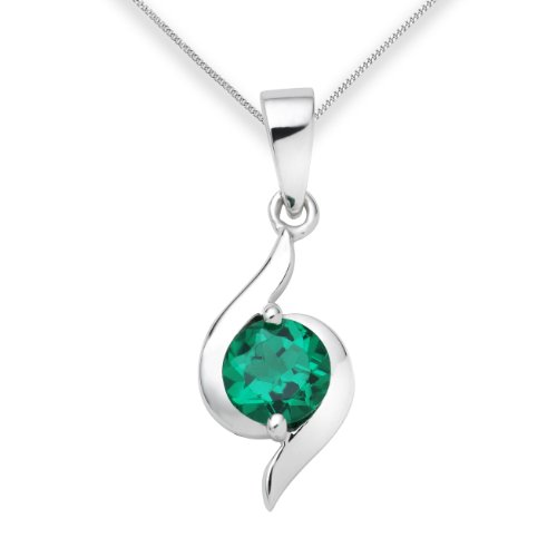 Emerald Necklace, 9ct White Gold, Created Emerald