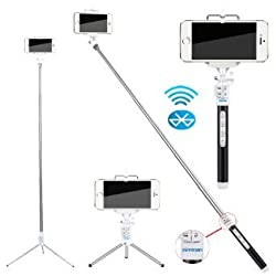 Cyber Monday Deals Week- Selfie Stick,Zonman 2015 Adjustable Extendable Wireless Bluetooth Monopod Handheld Self Portrait Selfie Stick with Remote Shutter Function Metals Rod 4 Mode for iPhone 5 5s 6 Samsung Galaxy S4 S5 Chri
