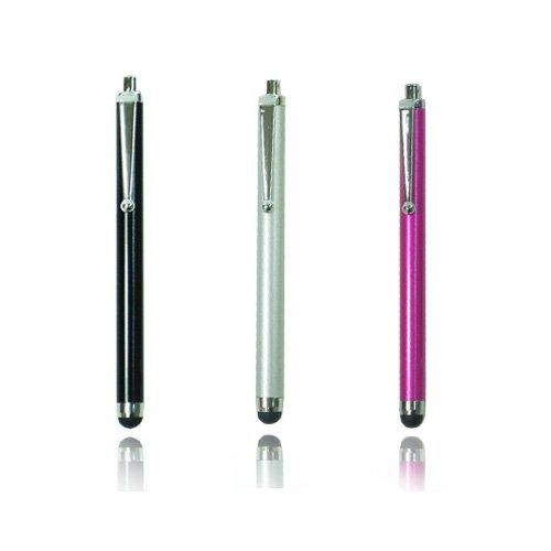 3本セット スマートフォン/iPhone/iPad/Galaxy Tabなど各種対応 タッチペン(ブラック、シルバー、ローズ)