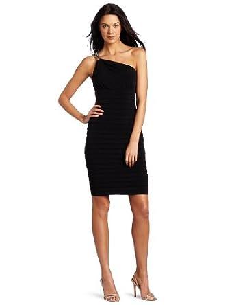 London Times Women's Solid Matte Jersey One Shoulder Shutter Tuck Dress, Black, 4