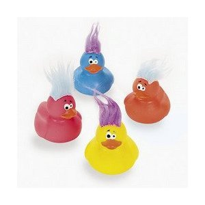 12 pk Vinyl Crazy Hair Rubber Ducks