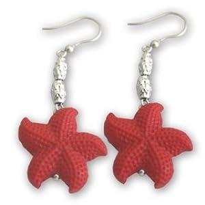 Orecchini stella marina in pasta di corallo rosso (imitazione) e