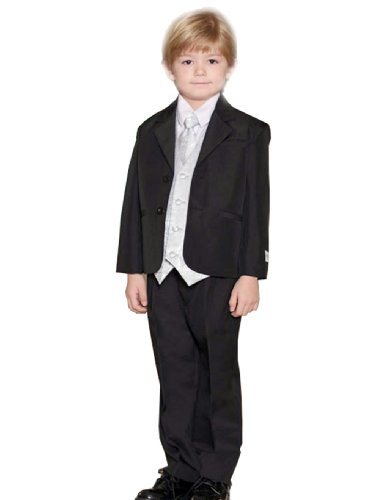 William Infant Tuxedo Set Jacket, Pants, Shirt, Vest and long Tie Outfit Color: Black/Silver Kids Sizes: 12M (12 months)  Review