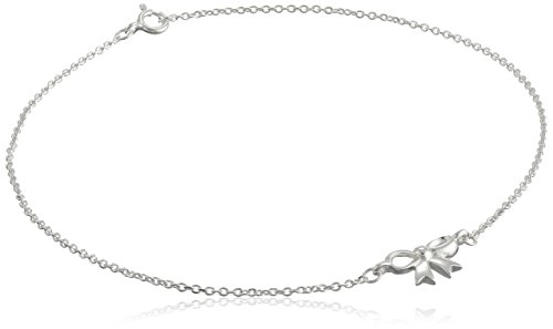 Sterling Silver Bow Cable Chain Anklet, 10