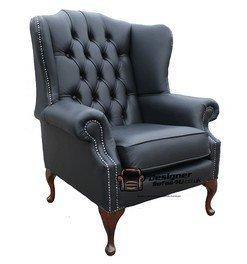 Mallory oreilles Chesterfield de style Queen Anne à haut dossier bergère UK fabriqué en cuir Noir