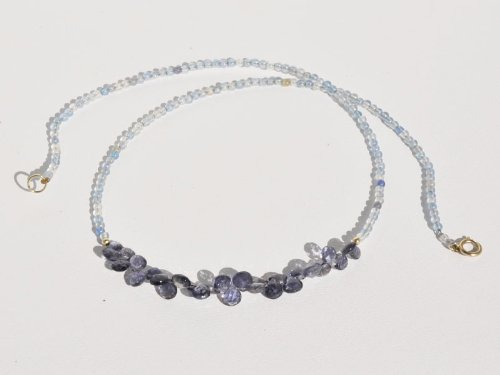 Iolite Briolettes and Blue Stones Necklace in 14k Yellow Gold, 16