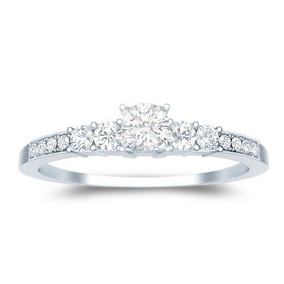 0.60 Carat Discount Engagement Ring with Round cut Diamond on 18K White gold