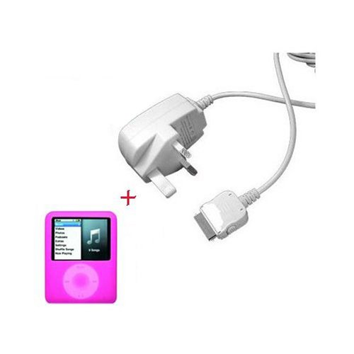 Sumnique - iPOD NANO 3G MAINS CHARGER UK + Free (Pink) Silicone Skin For The New 3RD GEN Nano