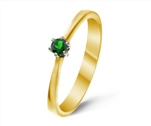 Stunning 9 ct Gold Ladies Solitaire Engagement Ring with Chrome Diopside 0.20 ct