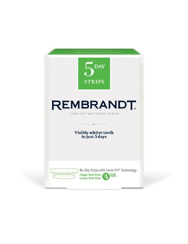 Rembrandt Mint Whitening Strips (5-Count for Upper, 5-Count for Lower) + 4, 14-Count Strips