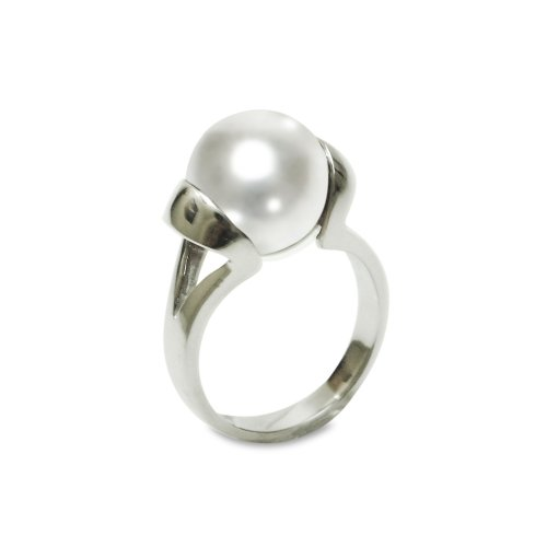 Sterling Silver 12mm White Shell Pearl Ring, Size 5