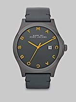 Marc Jacobs Henry Charcoal Dial Black Leather Unisex Watch MBM1216