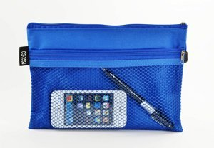 Cosmos ® Blue A5 Paper Office Medium Double Compartment Mesh Zipper Document Bag/ Organizer For Pen, Cards, File And More